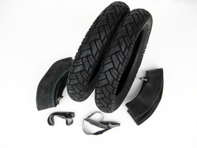 Reifensatz Roller 3,00x12 Vee Rubber 094 mit Schlauch und Felgenband