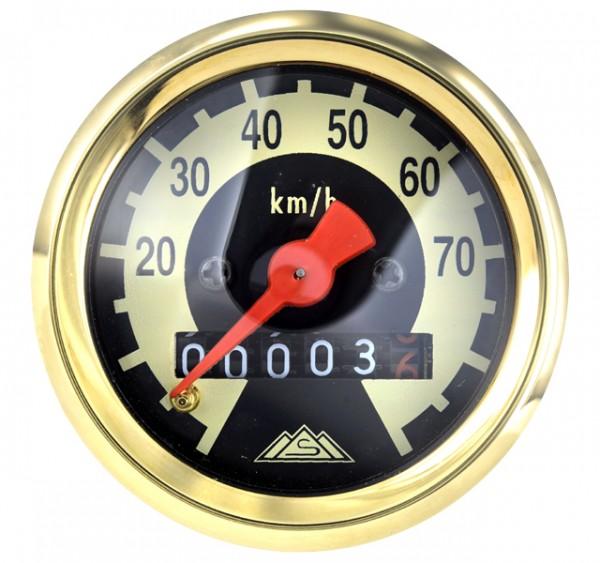 Tachometer Schwalbe KR51, SR4-2, SR4-3 schwarz/elfenbein Tachoring mit Gold veredelt