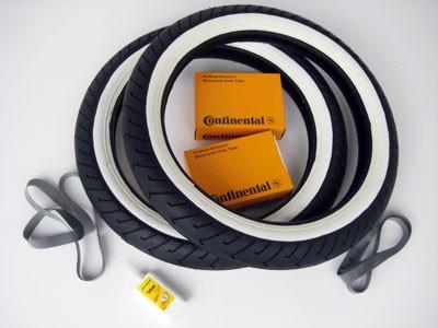 Reifensatz Mitas Weißwand MC2 mit Schlauch und Felgenband