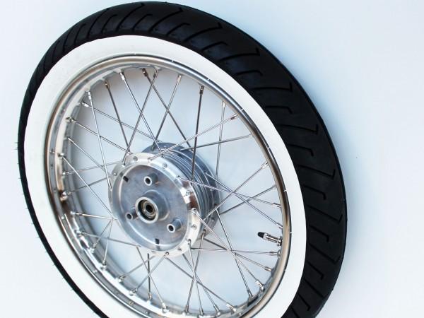 Komplettrad 1,5 x 16 Zoll Edelstahl Mitas Weißwand hinten