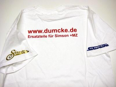 T-Shirt Dumcke.de weiß Größe M
