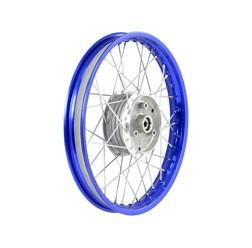 Speichenrad 1,6x16 blaue Alufelge, Chromspeichen