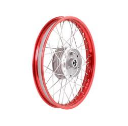 Speichenrad 1,5x16 rote Alufelge, Chromspeichen
