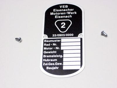 Typenschild passend für EMW