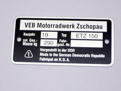 Typenschild ETZ 150