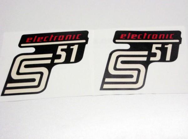 "Aufklebersatz ""S51 elektronic"" schwarz rot im Original Design"