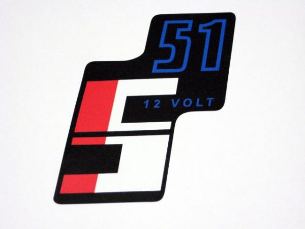 """Aufkleber Seitendeckel """"S51 12 Volt"""" im Original Design"""