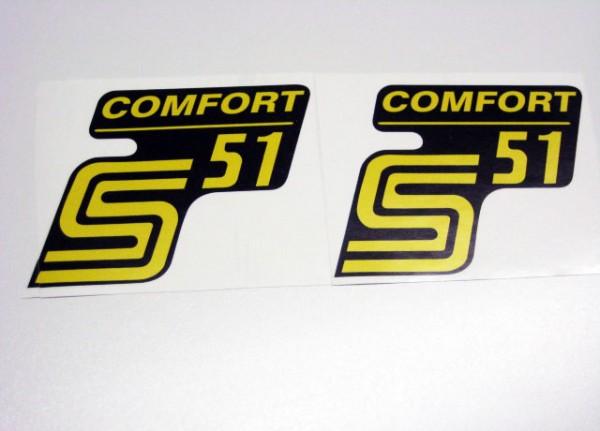 "Aufklebersatz ""S51 Comfort"" schwarz gelb im Original Design"