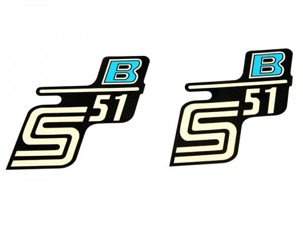"""Aufklebersatz """"S51 B"""" schwarz hellblau im Original Design"""