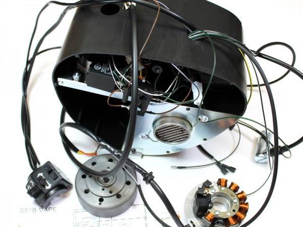 Gehäusemittelteil Vape montiert mit Kabelbaum und Schalterkombination Enduro