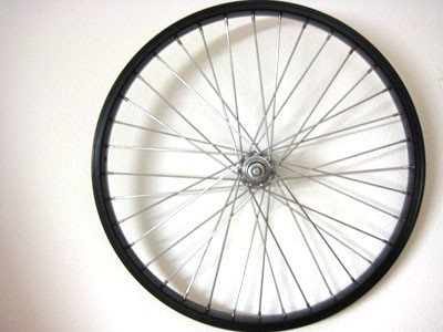 Speichenrad schwarz 16 Zoll f. Mopedanhänger