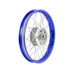 Speichenrad 1,5x16 blaue Alufelge, Chromspeichen