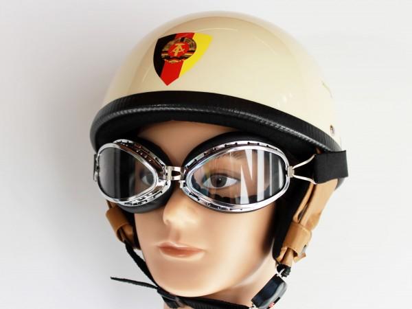 """Helm """" Nationalkader DDR """" RB 500 elfenbein Größe M mit Brille"""