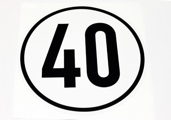 Aufkleber Mopedanhänger 40 km/h mit schwarzem Rand