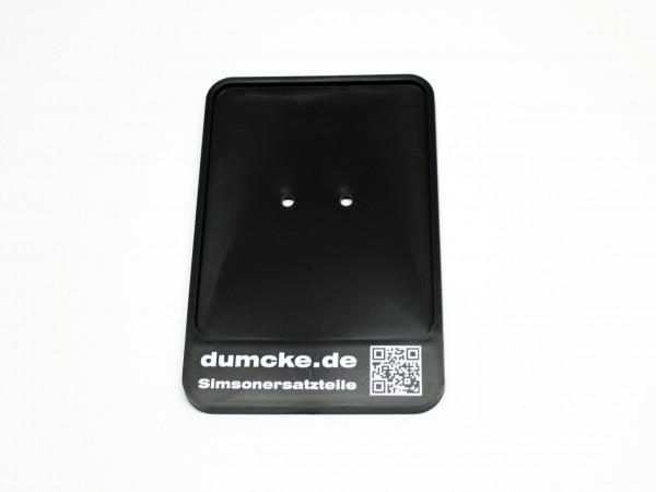 Kennzeichenunterlage dumcke.de mit QR-Code